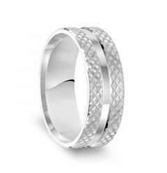 14k White Gold Beveled Edged Polished Grooved Center Mens Wedding Band with Knurled Motif - 7.5mm