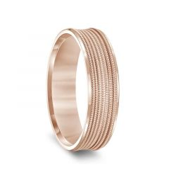 14k Rose Gold Multi-Milgrain Concave Wedding Ring with Polished Beveled Edges - 6mm & 8mm