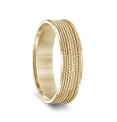 14k Yellow Gold Multi-Milgrain Concave Wedding Ring with Polished Beveled Edges - 6mm & 8mm
