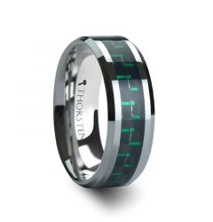 ATRONIUS Tungsten Carbide Wedding Band with Black & Green Carbon Fiber Inlay - 6mm - 10mm