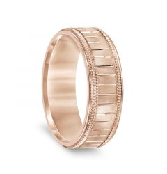 14k Rose Gold Men's Milgrain Wedding Band with Polished Horizontal Grooves - 7mm
