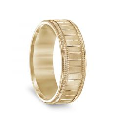 14k Yellow Gold Men's Milgrain Wedding Band with Polished Horizontal Grooves - 7mm
