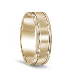 14k Yellow Gold Brushed Finish Dual Grooved Women's Ring with Coin Edge Design - 4mm