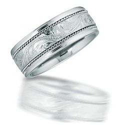 MOLOKAI Engraved Hawaiian Patterned Center Silver Wedding Band by Novell - 8mm