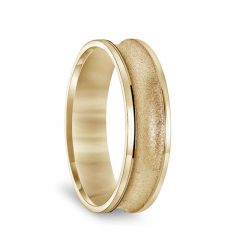 14k Yellow Gold Concave Men's Wedding Ring with Textural Finish & Polished Round Edges - 6mm & 8mm