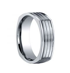 CARWYN Square Titanium Wedding Band with Brushed Grooved Center by Benchmark Rings - 7mm