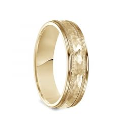 14k Yellow Gold Brushed Hammered Finish Milgrain Ring with Polished Edges - 6mm