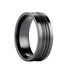 DONOVAN Titanium Black Ring with Dual Satin Finish Center Grooves by Benchmark - 8mm