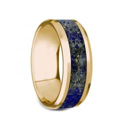 LAZARUS 14k Yellow Gold Polished Beveled Edges Men's Wedding Ring with Blue Lapis Lazuli Inlay - 8mm