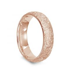 14k Rose Gold Artisan Finish Womens Flat Wedding Band by Diana - 5.5mm