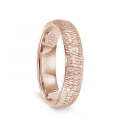 14k Rose Gold Hammered Finish Womens Flat Wedding Band by Diana - 5.5mm
