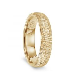 14k Yellow Gold Hammered Finish Womens Flat Wedding Band by Diana - 5.5mm