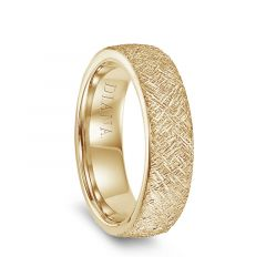 14k Yellow Gold Artisan Finish Mens Flat Wedding Ring by Diana - 6.5mm