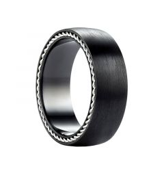 GARNET Black Titanium Ring Satin Finish with Sterling Silver Braided Inlay by Benchmark - 7.5mm