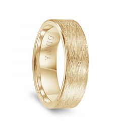 14k Yellow Gold Men's Wire Brushed Flat Wedding Ring by Diana - 7mm