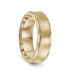 14k Yellow Gold Men's Brushed Finish Concave Wedding Ring by Diana - 7mm