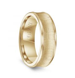 14k Yellow Gold Men's Vertical Finish Concave Wedding Ring by Diana - 7mm