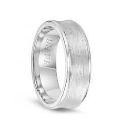 14k White Gold Men's Wire Brushed Finish Concave Wedding Ring by Diana - 7mm