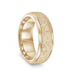 14k Yellow Gold Artisan Finish Raised Center Polished Round Edges Mens Wedding Ring by Diana  - 7.5mm