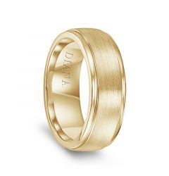 14k Yellow Gold Brushed Raised Center Polished Step Edges Mens Wedding Ring by Diana - 7.5mm