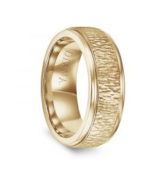 14k Yellow Gold Hammered Raised Center Polished Step Edges Mens Wedding Ring by Diana - 7.5mm