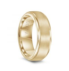 14k Yellow Gold Satin Finish Raised Center Polished Round Edges Mens Wedding Ring by Diana - 7.5mm