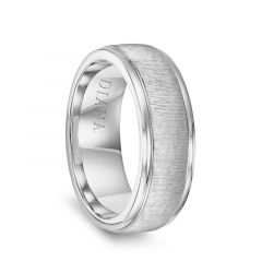 14k White Gold Vertical Finish Raised Center Polished Round Edges Mens Wedding Ring by Diana - 7.5mm