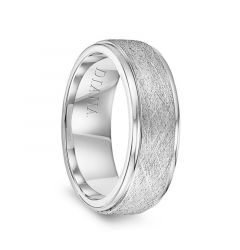 14k White Gold Wire Finish Raised Center Polished Round Edges Mens Wedding Ring by Diana - 7.5mm