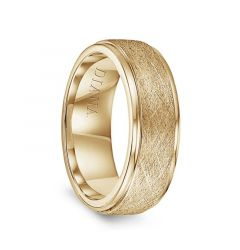 14k Yellow Gold Wire Finish Raised Center Polished Round Edges Mens Wedding Ring by Diana - 7.5mm