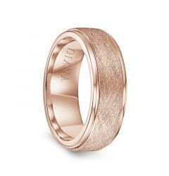 14k Rose Gold Wire Finish Raised Center Polished Round Edges Mens Wedding Ring by Diana - 7.5mm