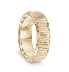 14k Yellow Gold Vertical Finish Center Polished Beveled Edges Men's Wedding Band by Diana - 7mm