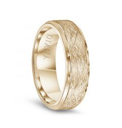 14k Yellow Gold Wire Finished Center Polished Beveled Edges Men's Wedding Band by Diana - 7mm