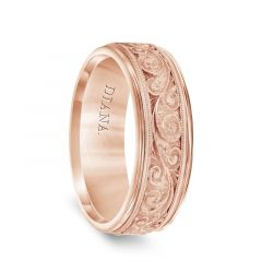 14k Rose Gold  Mens Milgrain Wedding Ring with Textured Scroll Pattern by Diana - 7.5mm