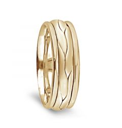 14k Yellow Gold Woven Center Men's Wedding Band with Polished Edges by Diana - 7mm