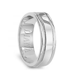 14k White Gold Satin Polished Ring with Milgrain Accents by Diana - 6mm
