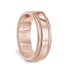14k Rose Gold Satin Polished Ring with Milgrain Accents by Diana - 6mm