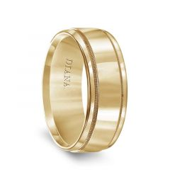 14k Yellow Gold Satin Finish Men's Milgrain Wedding Band with Polished Edges by Diana - 8mm