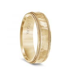 14k Yellow Gold Hammered Finish Center Mens Wedding Band with Milgrain and Polished Edges by Diana - 6.5mm