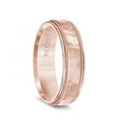 14k Rose Gold Hammered Finished Center Mens Wedding Band with Milgrain and Polished Edges by Diana - 6.5mm