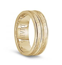 14k Yellow Gold Polished Grooved Brushed Hammered Finish Mens Wedding Band - 7.5mm