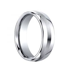 DESTICIUS Slightly Domed Cobalt Chrome Wedding Band with Satin Stripe by Benchmark - 7.5mm