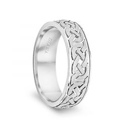 14k White Gold Men's Flat Wedding Band with Engraved Celtic Knot Pattern by Diana - 7mm