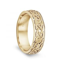 14k Yellow Gold Men's Flat Wedding Band with Engraved Celtic Knot Pattern by Diana - 7mm