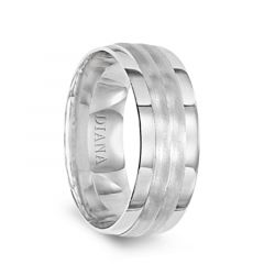 14k White Gold Polished Rolled Edges Womens Wedding Ring with Brushed Grooved Center by Diana - 5.5mm