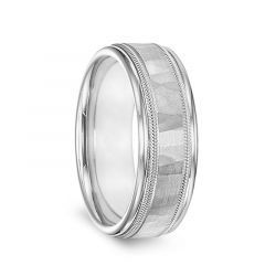 14k White Gold Mens Hammered Finish Double Milgrain Wedding Band with Polished Edges by Diana - 7.5mm