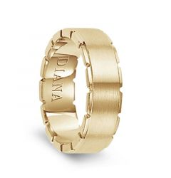 14k Yellow Gold Satin Finished Men's Wedding Band with Grooved Polished Edges by Diana - 7mm
