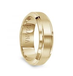 14k Yellow Gold Satin Finished Center Polished Beveled Edges Men's Wedding Ring by Diana - 7mm
