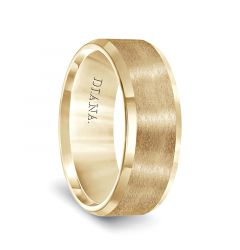 14k Yellow Gold Polished Bevel Edged Men's Wedding Band with Brushed Center by Diana - 8mm