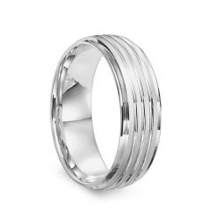 14k White Gold Men's Brushed & Polished Grooved Flat Wedding Band by Diana - 7mm