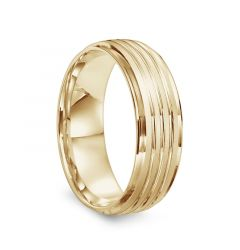 14k Yellow Gold Men's Brushed & Polished Grooved Flat Wedding Band by Diana - 7mm
